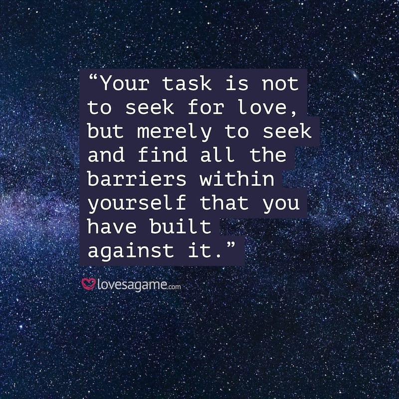 Breakup Quote: Your task is not to seek love